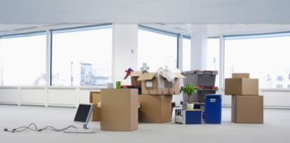 moving services in uk boxes in an office
